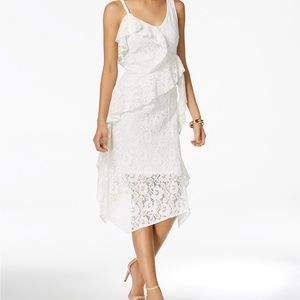 Taylor Ruffled Lace Midi Dress,Off White, Size 8